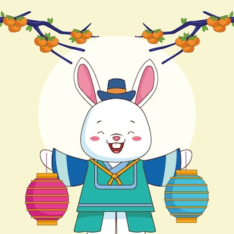 Happy chuseok celebration with rabbit lifting lamps and oranges in tree