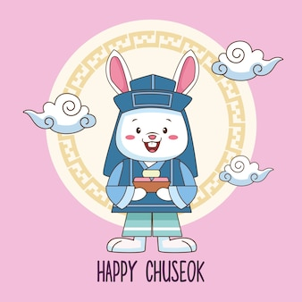 Happy chuseok celebration with rabbit lifting sweet food and clouds