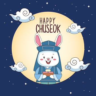 Happy chuseok celebration with rabbit lifting sweet food in fullmoon