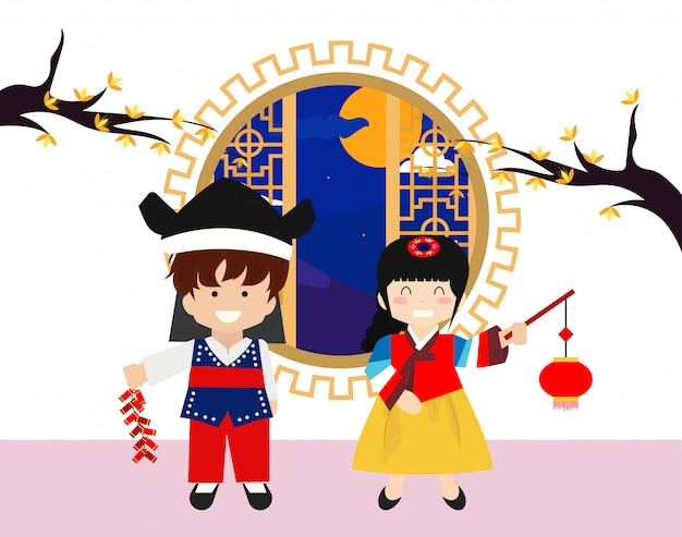 Happy chuseok day kids illustration