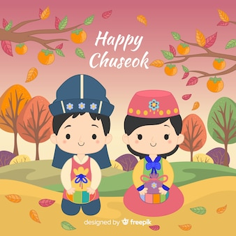 Happy chuseok day with cartoons