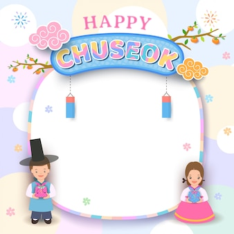Happy chuseok frame with boy and girl korean