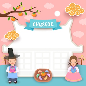 Happy chuseok house frame boy girl greeting card