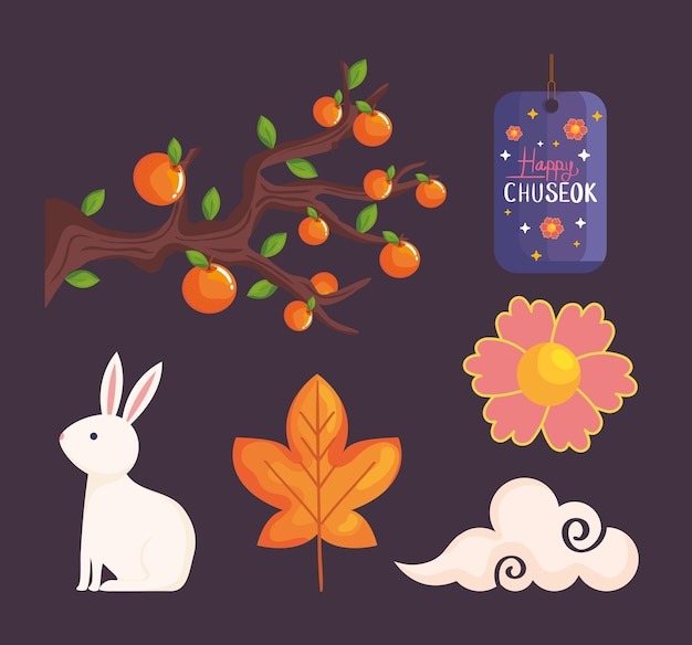 Happy chuseok icon collection