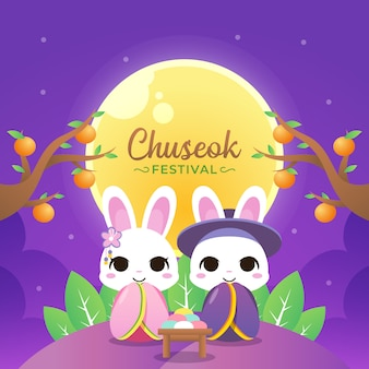 Happy chuseok illustration with couple rabbit wear hanbok