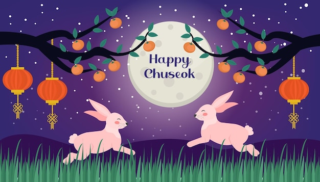 Happy chuseok, mid autumn festival card, poster template for your design. persimmons tree branch and cute rabbits on the moon background, korean thanksgiving and harvest festival. vector illustration.