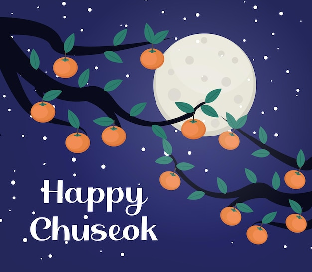 Happy chuseok, mid autumn festival card, poster template for your design. persimmons tree branch, korean thanksgiving and harvest festival. vector illustration.