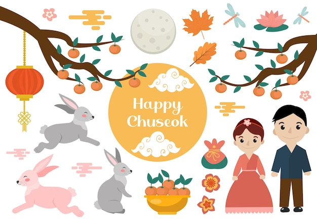 Happy chuseok set of objects. mid autumn festival collection of design elements with persimmon, rabbits, moon. korean thanksgiving and harvest festival. vector illustration clip art.