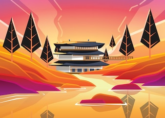 Happy Chuseok with Korean Traditional Building and River