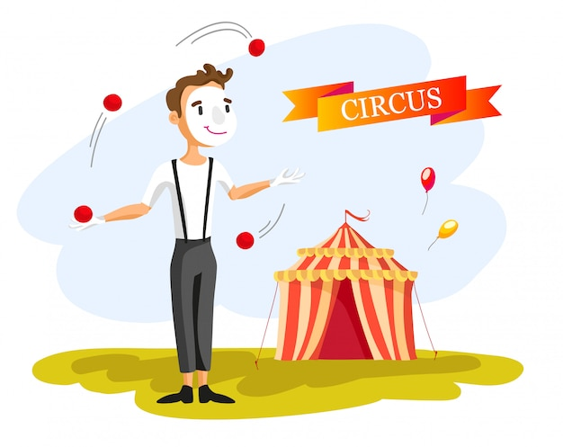 Happy circus clown. cartoon illustration. man juggling balls. circus show. vintage style.