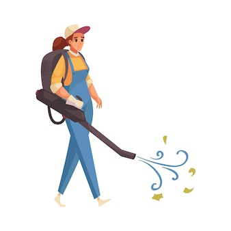 Happy cleaner character with blower flat icon on white