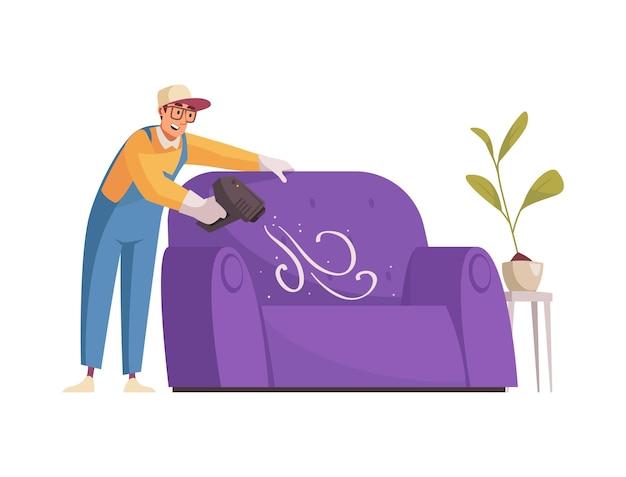 Счастливый уборщик чистит диван с плоским профессиональным оборудованием