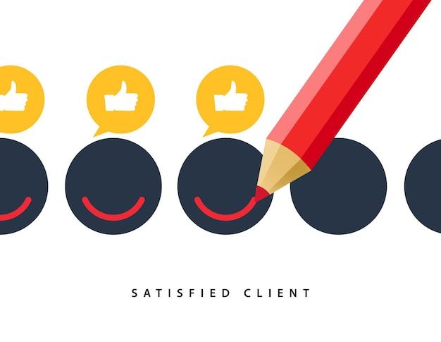 행복 한 클라이언트 고객 비즈니스 아이콘입니다. 피드백 클라이언트 긍정적인 기호 미소 기호 개념 그림입니다.