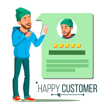 Happy client. positive testimonials. happiness.