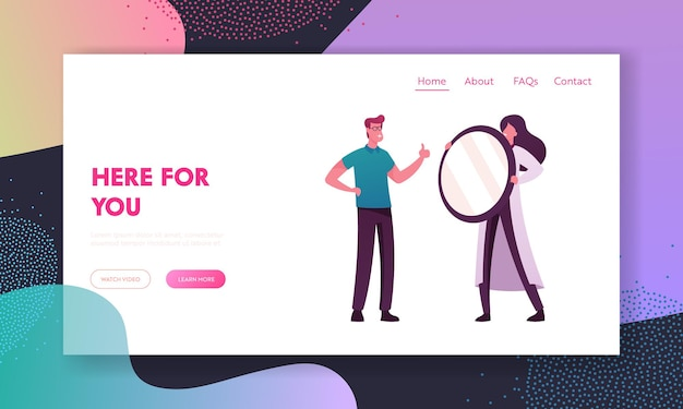 Happy client smile and show thumb up landing page template.