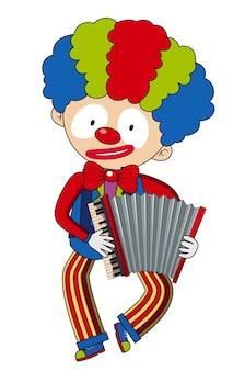 Happy clown playing accordion