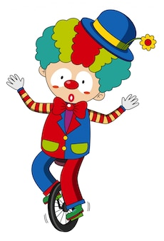 Happy clown riding on wheel