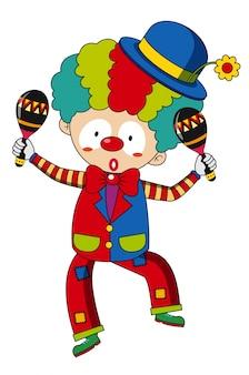 Happy clown with maracas