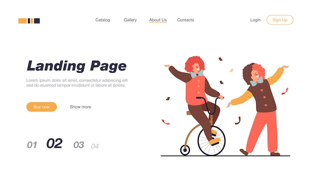 Happy clowns standing on circus arena landing page template