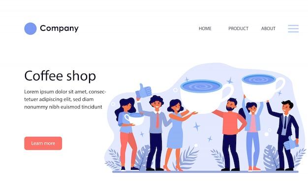 Довольные клиенты кофейни. шаблон веб-сайта или целевая страница