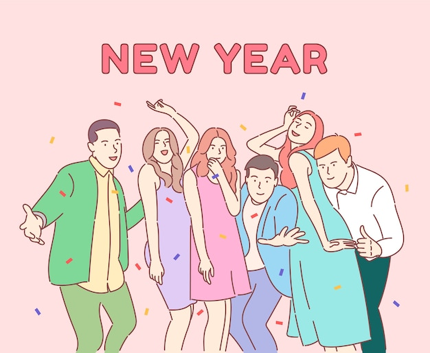 Счастливые коллеги, друзья празднуют зимний праздник, позитивная бизнес-команда с шампанским.