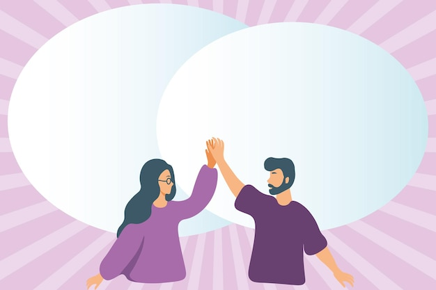 Иллюстрация счастливых коллег с речевым пузырем, дающим высокие пятерки показу друг друга