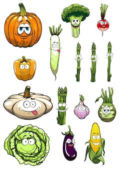 幸せなカラフルな漫画の庭の野菜のキャラクター