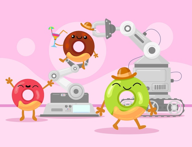 Happy colorful glazed doughnuts in production. cartoon illustration