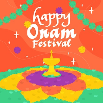 Happy colorful onam illustration