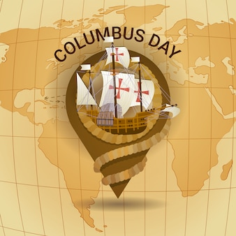 Happy columbus day america discover holiday poster greeting card retro world map