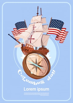 Happy columbus day america discover holiday poster greeting card