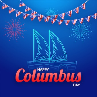 Happy columbus day banner design.