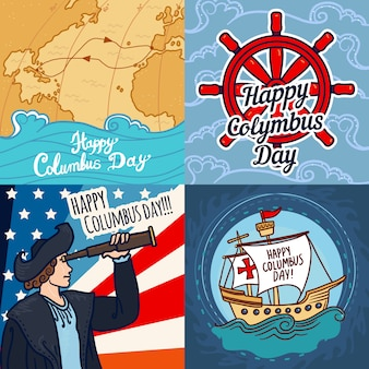 Happy columbus day banner set