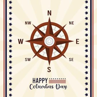 コンパスガイドとレタリングで幸せなコロンバスの日のお祝い。