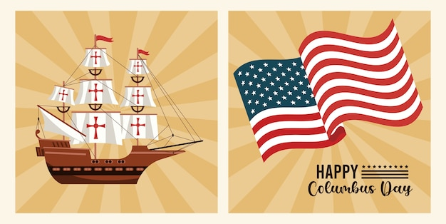 Happy columbus day celebration with usa flag and ship.