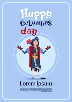Happy columbus day holiday poster greeting card