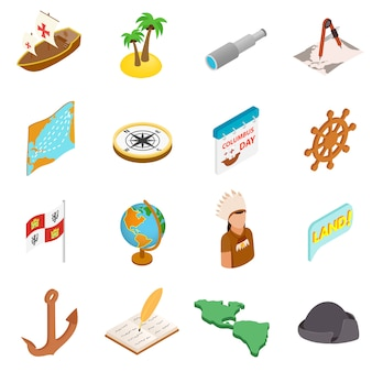 Happy columbus day isometric 3d icons set