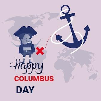 Happy columbus day national usa holiday greeting card banner