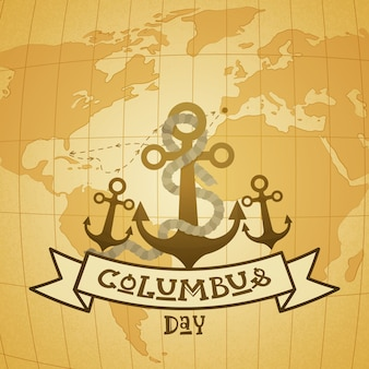 Happy columbus day national usa holiday greeting card with anchor over world map