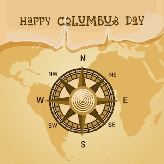 Happy columbus day national usa holiday greeting card with compass over world map