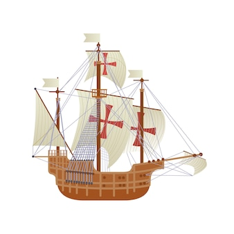 Happy columbus day national usa holiday greeting card with ship isolated on white background