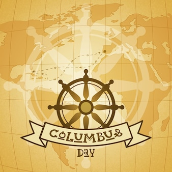 Happy columbus day national usa holiday greeting card with steering wheel and anchor over world map