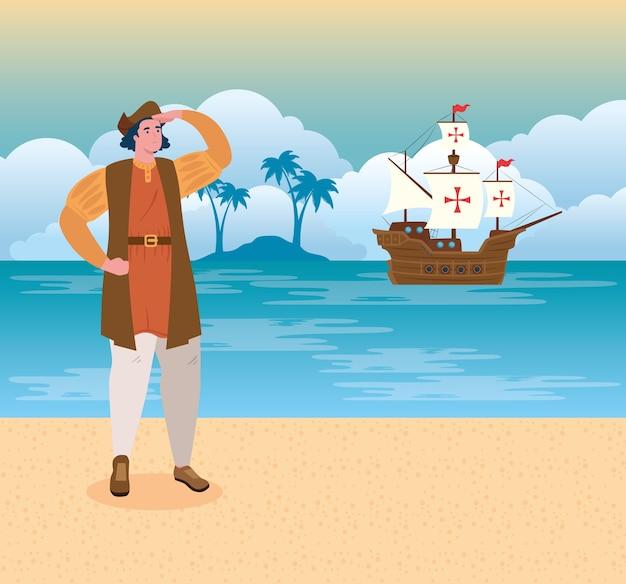 С днем колумба, национальный праздник сша, христофор колумб смотрит на пляж, векторная иллюстрация дизайн
