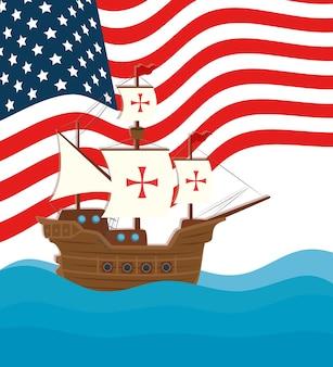 С днем колумба национальный праздник сша, с кораблем карабела векторная иллюстрация дизайн