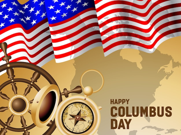 Happy columbus day poster illustration
