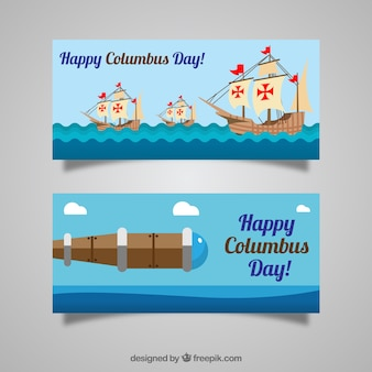 Happy columbus day with flat banners