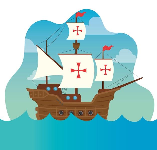 Счастливый день колумба, с кораблем карабела на море векторные иллюстрации дизайн