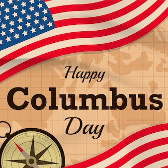 Happy columbus day with usa flag  on map background or banner