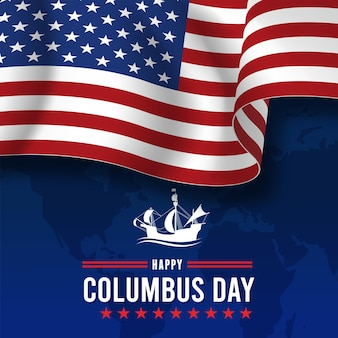 Happy columbus day with waving american national flag and sailboat. vector