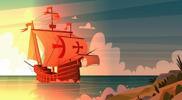 Корабль в море на закате happy columbus day национальный праздник сша концепция